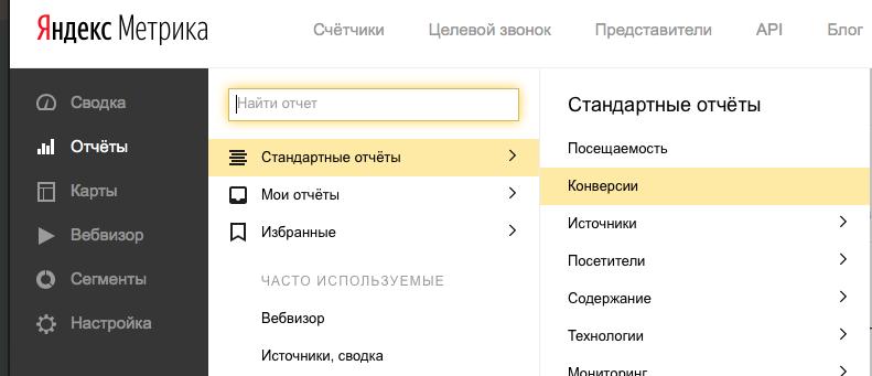 Отчет по конверсиям виджета LeadBack обратный звонок в Яндекс Метрике