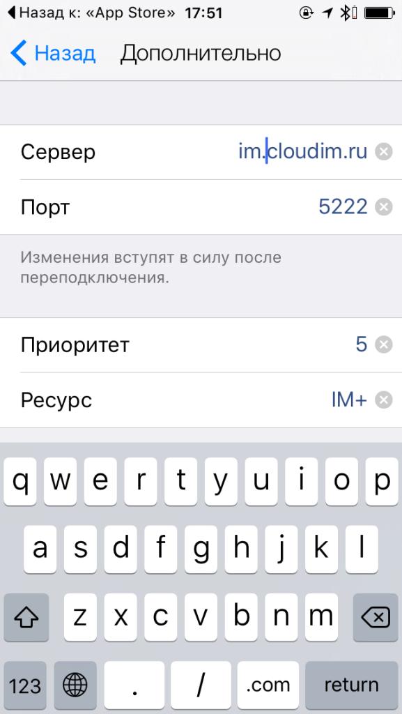 """Измените значение поля """"Сервер"""" на im.cloudim.ru, другие настройки оставьте как есть"""