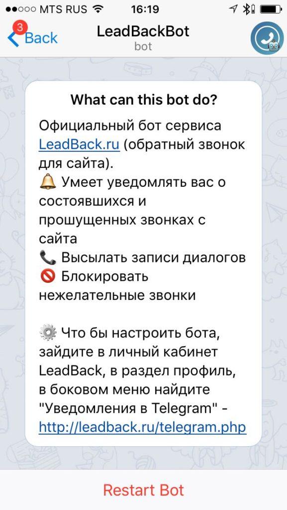Приветственное сообщение Telegram бота @LeadBackBot