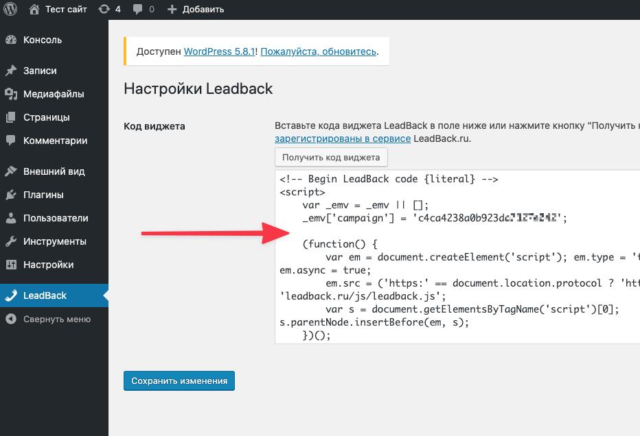 Установка кода виджета LeadBack в WordPress