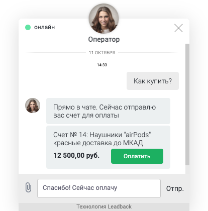 Оплата счета в чате на сайте