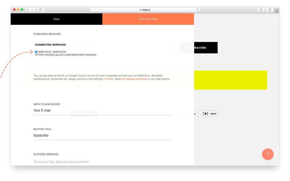 Активируйте сервис Webhook для формы сайта