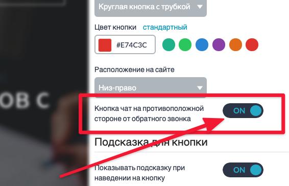 Опция: Кнопка чат на противоположной стороне от обратного звонка